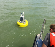 A buoy deployed by the Center for Fresh Waters and Human Health to track water quality in real-time.