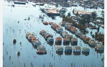 New Orleans houses are swamped by floodwaters after Hurricane Katrina.