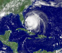 A satellite image of an Atlantic hurricane.