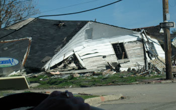 a house in the Lower Ninth Ward in New Orleans that was destroyed by Hurricane Katrina.