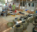Photo of researchers preparing instruments that gathered data on Hurricane Irene.