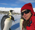Photo of Jessica Meir at the Cape Crozier emperor penguin colony.