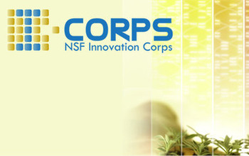 Woman looking at plants and icorps logo