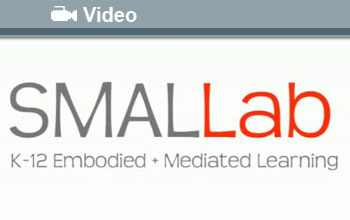 Text: SMALLab, K-12 Embodied + Mediated Learning, Video with video icon at top