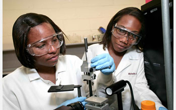 Photo of two students working on a research project in the lab.