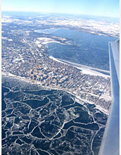 Aerial photo of ice cover on northern lakes