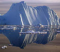 Photo of iceberg and its reflection