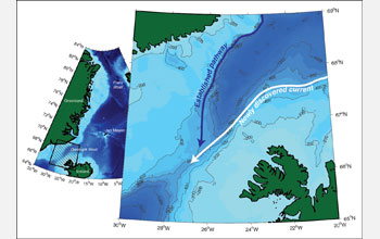 Image of the Northern Denmark Strait showing the newly discovered deep current.