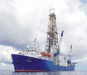 The scientific drillship JOIDES Resolution at sea