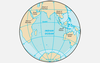 A world map showing the Indian Ocean.