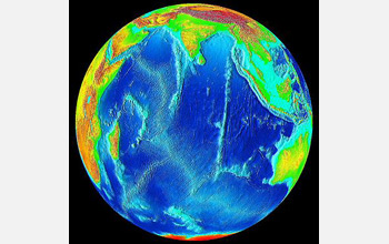 Image of earth showing sea levels which are rising unevenly, threatening coastal areas and islands.
