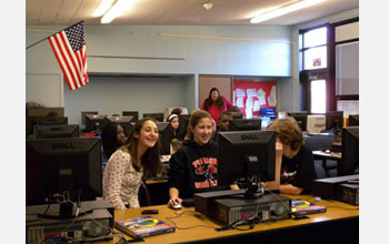 Photo of students participating in the Interactive Journalism Institute for Middle Schoolers.