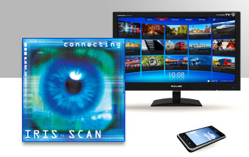 Graphic illustration showing a computer monitor, a smart phone and an eye scanner display