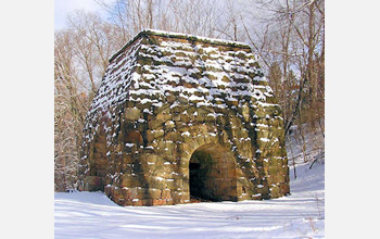 Photo of an iron furnace in Ligonier Valley, Pennsylvania.