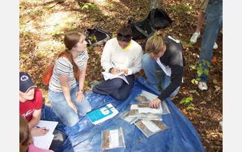 Photo of students making observations on Shale Hills soils for an environmental geochemistry course.