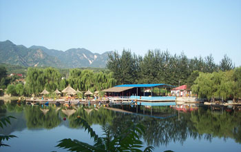 Photo of a resort north of Beijing, China, and surrounding hills which were source of shale samples.