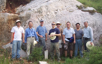Photo of scientists who are collecting shale samples in China.