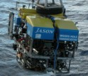 <i>Jason II is a robotic vehicle tethered to the vessel <i>Thompson</i> by a fiber optic cable.