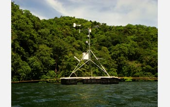 Photo of a weather station that monitors conditions at Jellyfish Lake.