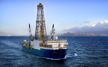 Aerial view of the drillship JOIDES Resolution.