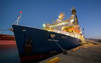 The ocean research drillship JOIDES Resolution is used to obtain samples from beneath the seafloor.