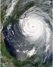 Hurricane Katrina approches landfall on Aug. 28, 2005.