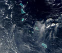 Satellite photo of the islands of Kiribati seen from space.