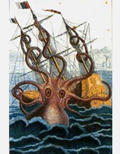 Illustration of an  enormous mythical sea monster, namesake of the Kraken Supercomputer.