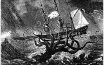 Illustration of an  enormous mythical sea monster wrapping its arms around a ship.