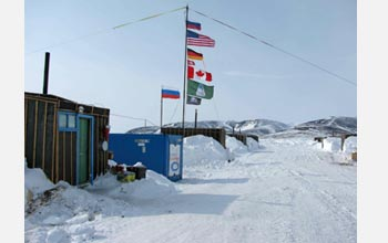 Photo of the field camp on the shore that housed 40 scientists and staff members for four months.