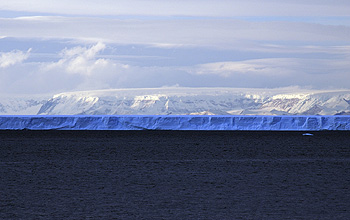 Photo of ice shelf and sea