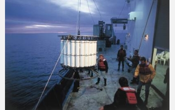 Oceanographers deploy an instrument as part of a study of the marine environment off California.