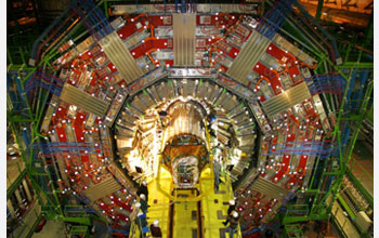 Photograph of the compact muon solenoid detector at CERN.