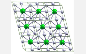 Image of hypothetical metallic crystal cells composed of one lithium atom and six hydrogen atoms.
