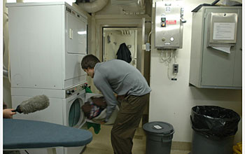 Photo of Dave Ullman in the laundry room.