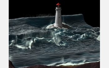 A computer generated simulation of waves parting around a lighthouse.