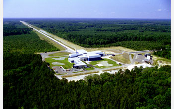 Photo showing an aerial view of the LIGO Livingston Observatory, located in Livingston, Louisiana.