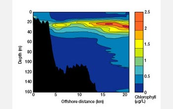 Graph showing chlorophyll levels as a function of depth and offshore distance in Lake Superior.
