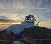 NSF Vera C. Rubin Observatory at sunset on Cerro Pachon in October 2019. Construction is scheduled to be completed in 2022 when science operations begin.