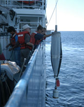 Image of scientists at the California Current Ecosystem LTER site launching a monitoring instrument.
