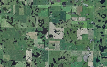 aerial view of land with various uses