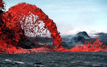 Lava coming from a volcano eruption