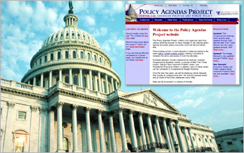 Capital Building with inset of Policy Agendas Website.