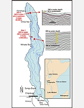 A bathymetric map of Africa's Lake Malawi shows locations of drilling sites, bottom profiles.