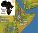 Map of the Great Rift Valley in East Africa with the Rukwa Rift study area highlighted.