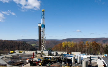 Photo of a natural gas drilling platform in Pennsylvania.