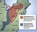 Map of U.S. East Coast showing the Marcellus shale and Devonian black shale succession.