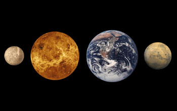 Images of the inner planets of our solar system, Mercury, Venus, Earth and Mars.