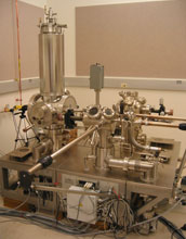 Image of an ultrahigh vacuum chamber which is used to analyze the surfaces of materials.