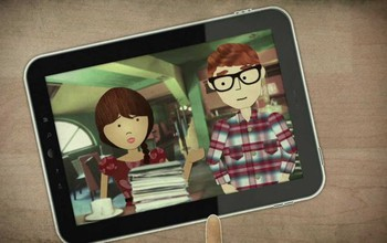 ipad showing two student characters